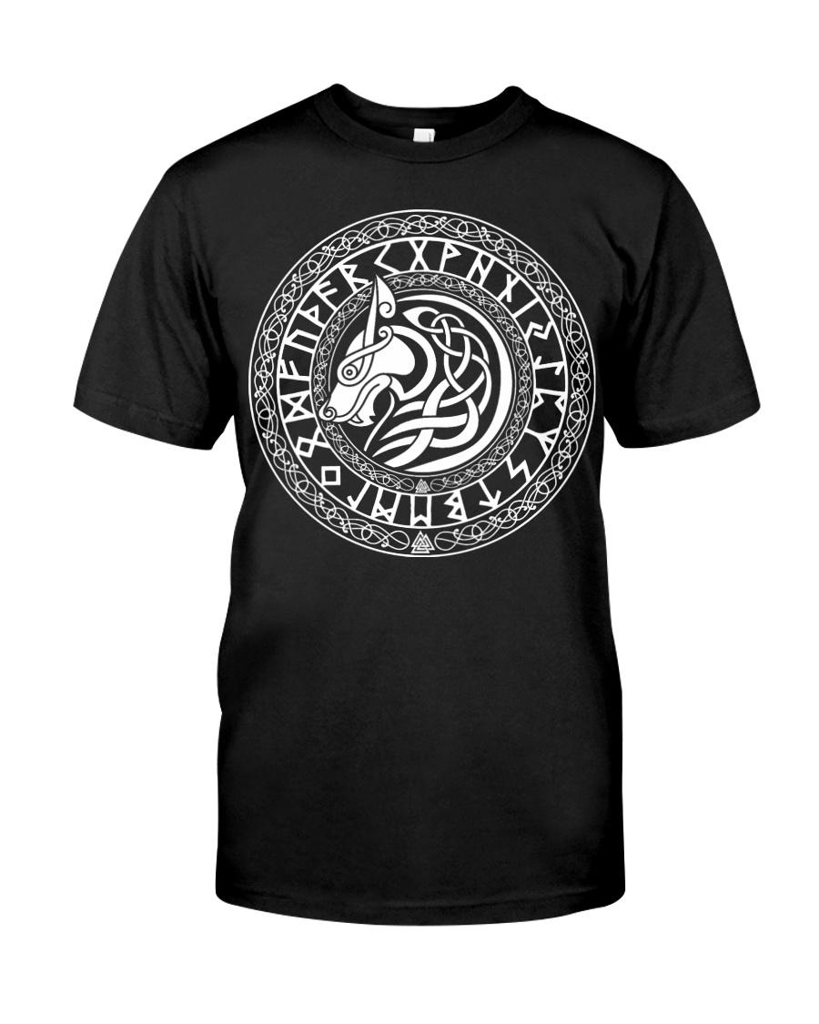 Viking Shirt - Viking Fenrir Wolf And Rune Classic T-Shirt