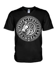 Viking Shirt - Viking Fenrir Wolf And Rune V-Neck T-Shirt thumbnail