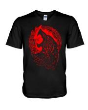 Viking Shirt - Viking Fenrir - Viking Wolf V-Neck T-Shirt thumbnail