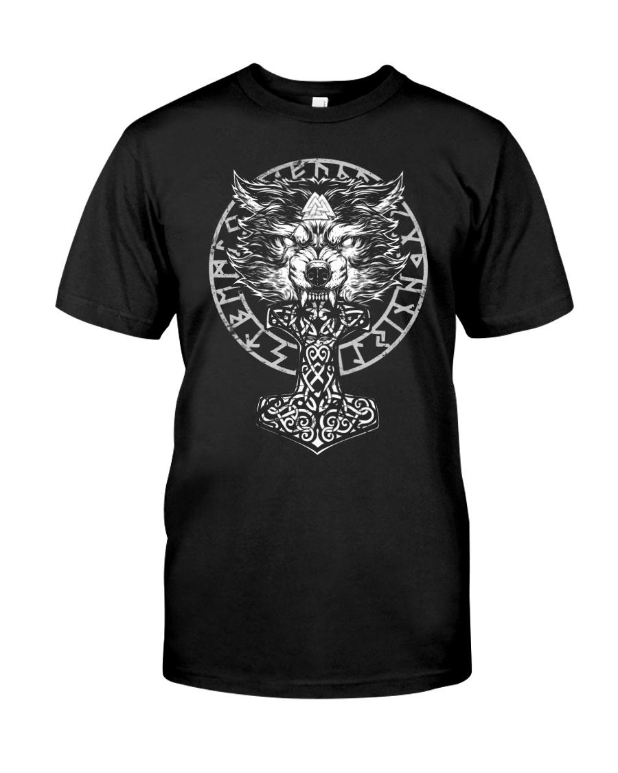 Viking Wolf Hammer Vegvisir  Classic T-Shirt