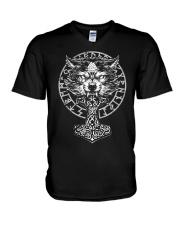 Viking Wolf Hammer Vegvisir  V-Neck T-Shirt thumbnail