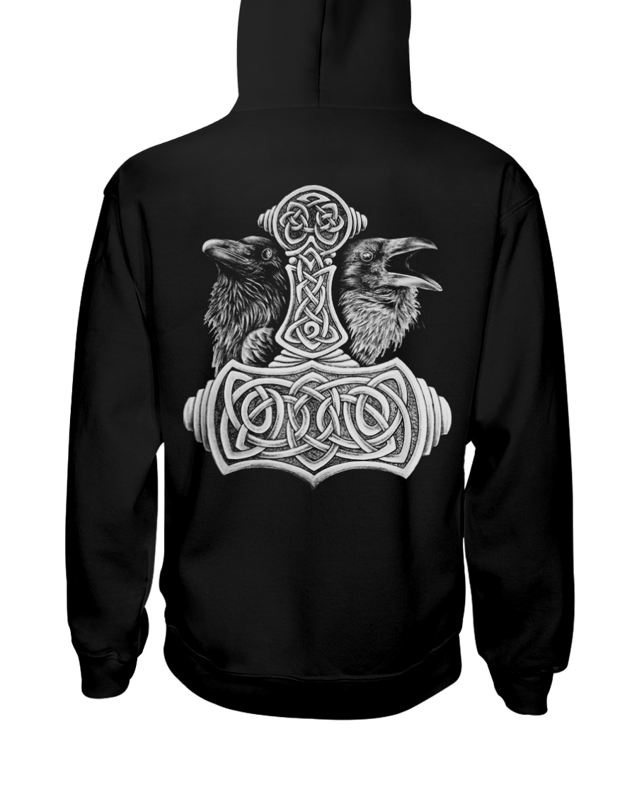 Viking Shirts - Viking Raven And Viking Hammer Hooded Sweatshirt