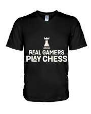 REAL GAMERS PLAY CHESS NATIONAL CHESS DAY HUMOR T  V-Neck T-Shirt thumbnail