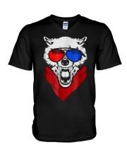 WOLF LED SOUND ACTIVATED GLOW LIGHT UP T SHIRT V-Neck T-Shirt thumbnail