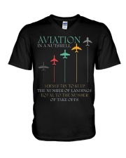 FUNNY PILOT AVIATION IN A NUTSHELL GIFT V-Neck T-Shirt thumbnail