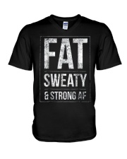 FUNNY POWERLIFTER FAT STRONGMAN POWERLIFTING STRON V-Neck T-Shirt thumbnail