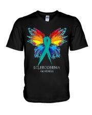 SCLERODERMA AWARENESS SHIRT BUTTERFLY T SHIRT V-Neck T-Shirt thumbnail