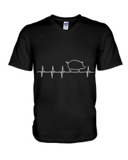 I LOVE MY PIG HEART VALVE EKG HEARTBEAT T SHIRT V-Neck T-Shirt thumbnail
