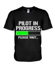 PILOT IN PROGRESS T SHIRT FUNNY FLIGHT SCHOOL STUD V-Neck T-Shirt thumbnail