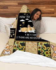 """Gift For Corgi Lovers - How To Be Happy Large Fleece Blanket - 60"""" x 80"""" aos-coral-fleece-blanket-60x80-lifestyle-front-03"""