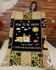 """Gift For Corgi Lovers - How To Be Happy Large Fleece Blanket - 60"""" x 80"""" aos-coral-fleece-blanket-60x80-lifestyle-front-04"""