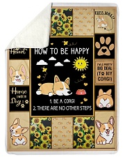 """Gift For Corgi Lovers - How To Be Happy Large Sherpa Fleece Blanket - 60"""" x 80"""" thumbnail"""