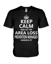 Area Loss Prevention Manager Keep Calm V-Neck T-Shirt thumbnail