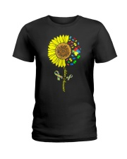 Autism Awareness Sunflower  Ladies T-Shirt tile