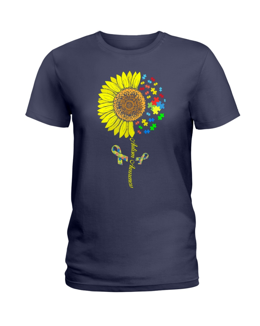 Autism Awareness Sunflower  Ladies T-Shirt