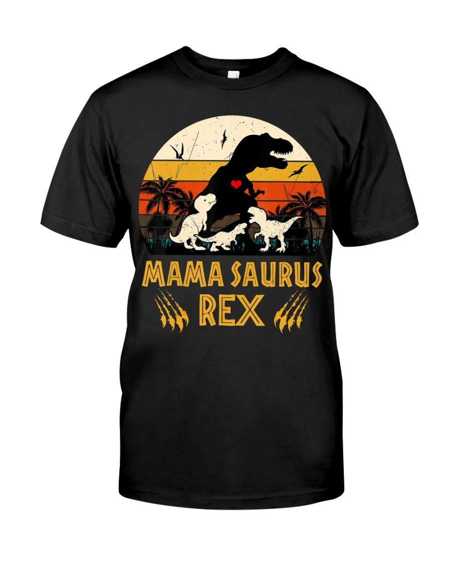 Funny Mamasaurus Rex I Three Kids Mom Classic T-Shirt