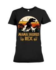 Funny Mamasaurus Rex I Three Kids Mom Premium Fit Ladies Tee thumbnail