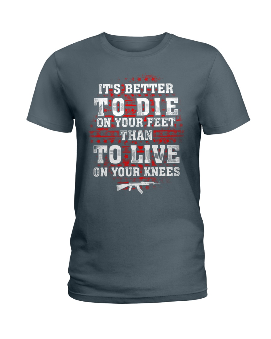 02 Gun Control Better To Die On Your Feet Ladies T-Shirt