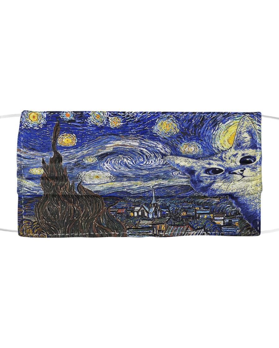Cat Starry Night  Cloth face mask
