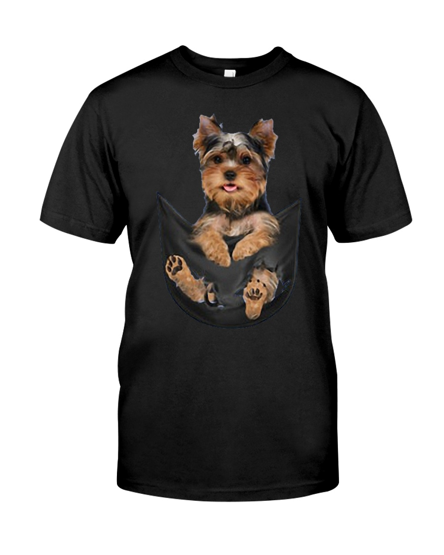 Yorkshire terrier in pocket scratch shirt funny Classic T-Shirt