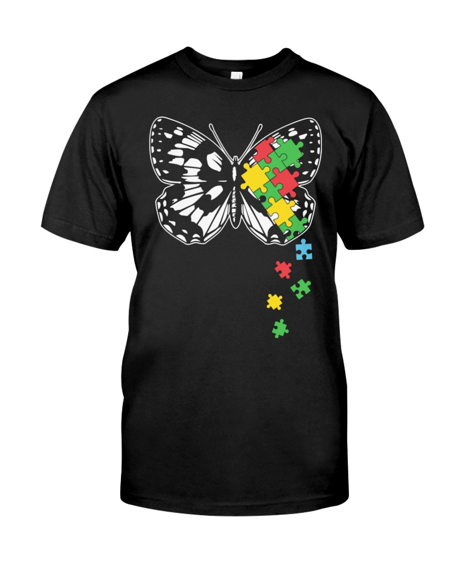 Autism Awareness Butterfly Puzzle Classic T-Shirt