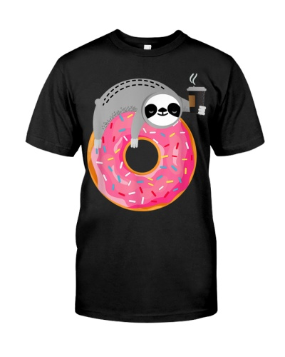 Sloth On Donut With Cup Of Steaming Coffee