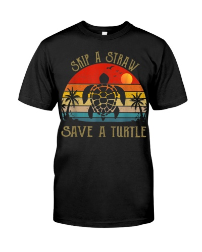 Skip a Straw Save a Turtle T-Shirt Save Turtles