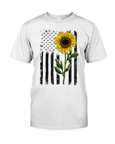 American Flag Sunflower Vibes Hippie Vintage