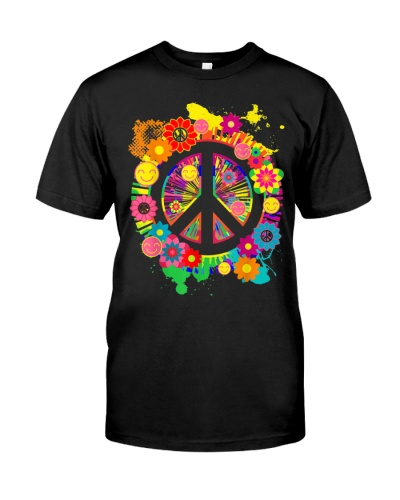 Peace Sign Bright Colorful Flowers 60s 70s Hippie