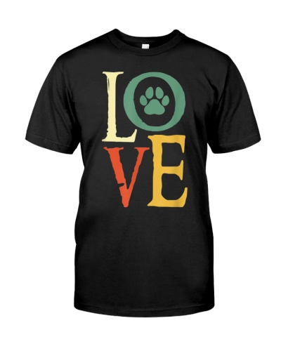 LOVE With Paw Print My Retro Colors