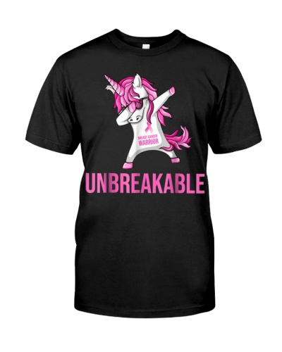 Unicorn Dabbing Breast Cancer Warrior