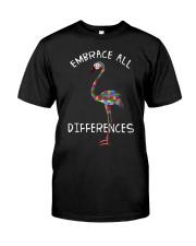 Embrace Differences Puzzle Flamingo Autism Classic T-Shirt front