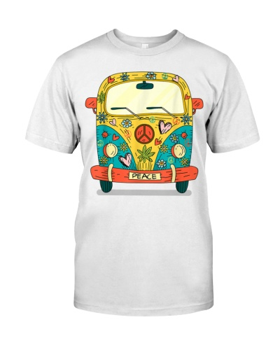 Vintage Hippie Van Flower Bus With Peace Sign