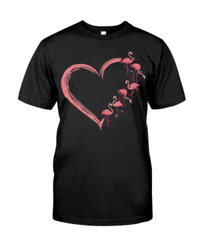 Pink Flamingo Heart Love t-shirt Flamingo Lover