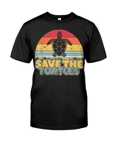 Save The Turtles Retro Style Turtle