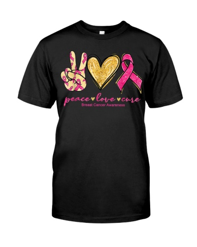 Peace Love Cure Ribbon Warrior Breast Cancer
