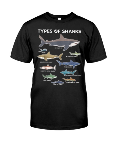 9 Types Of Sharks T-Shirt Educational Colorful