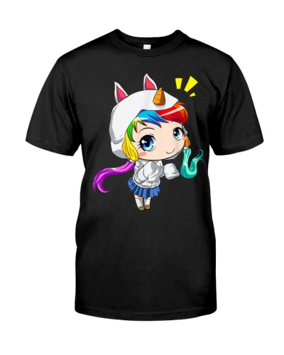 Anime Chibi Girl Rainbow Unicorn