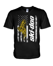 FLAG SKI YELLOW V-Neck T-Shirt thumbnail