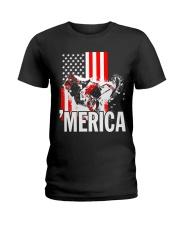 Merica racer flag Ladies T-Shirt thumbnail