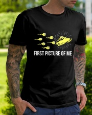 Funny Snowmobile Shirts First Picture Of Me Classic T-Shirt lifestyle-mens-crewneck-front-7
