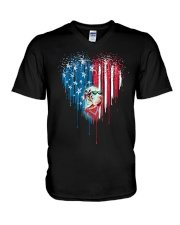 Great-Dane-Bleeding-Heart-American V-Neck T-Shirt thumbnail