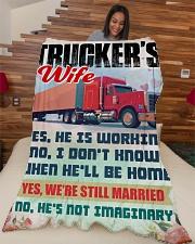 "Trucker's Wife Large Fleece Blanket - 60"" x 80"" aos-coral-fleece-blanket-60x80-lifestyle-front-04"