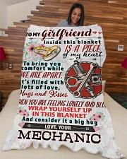 "MECHANIC'S GIRLFRIEND- PREMIUM Large Fleece Blanket - 60"" x 80"" aos-coral-fleece-blanket-60x80-lifestyle-front-04"