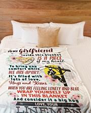 "LINEMAN'S GIRLFRIEND- PREMIUM Large Fleece Blanket - 60"" x 80"" aos-coral-fleece-blanket-60x80-lifestyle-front-02"