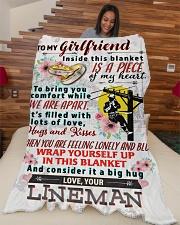 "LINEMAN'S GIRLFRIEND- PREMIUM Large Fleece Blanket - 60"" x 80"" aos-coral-fleece-blanket-60x80-lifestyle-front-04"