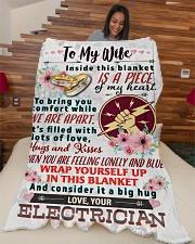 "ELECTRICIAN'S WIFE- PREMIUM Large Fleece Blanket - 60"" x 80"" aos-coral-fleece-blanket-60x80-lifestyle-front-04"