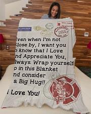 "Firefighter's Girl  Premium Large Fleece Blanket - 60"" x 80"" aos-coral-fleece-blanket-60x80-lifestyle-front-04"