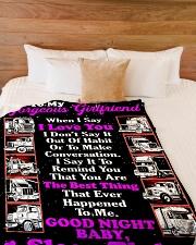 "Trucker's Girlfriend Large Fleece Blanket - 60"" x 80"" aos-coral-fleece-blanket-60x80-lifestyle-front-02"