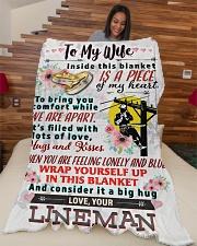 """LINEMAN'S WIFE Large Fleece Blanket - 60"""" x 80"""" aos-coral-fleece-blanket-60x80-lifestyle-front-04"""
